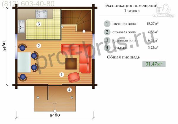Фото 3: проект брусовый дом, весь второй этаж - огромная спальня