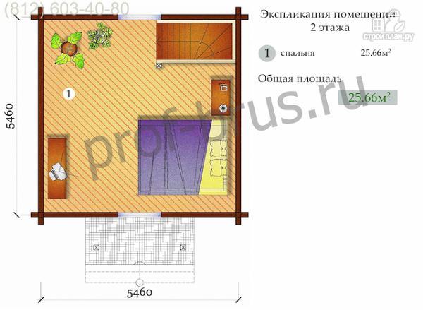 Фото 4: проект брусовый дом, весь второй этаж - огромная спальня