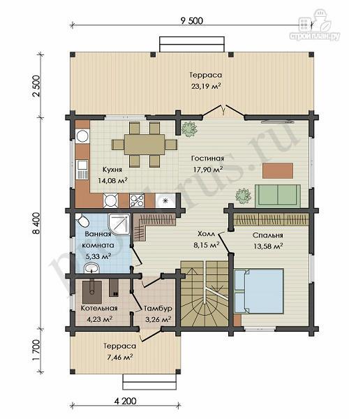Фото 3: проект брусовый дом с 4 спальнями и большой гостиной