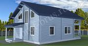 Проект брусовый дом с 4 спальнями и большой гостиной