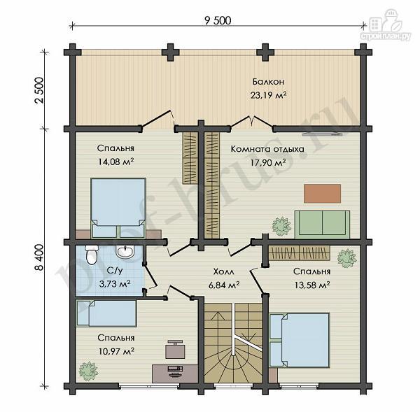 Фото 4: проект брусовый дом с 4 спальнями и большой гостиной