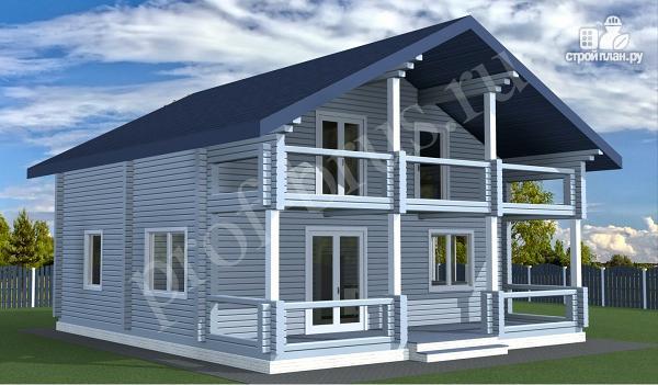 Фото 2: проект брусовый дом с 4 спальнями и большой гостиной
