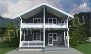Проект дом с просторными балконом и террасой