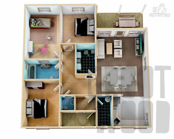 Фото 2: проект одноэтажный дом 12 х 12 м