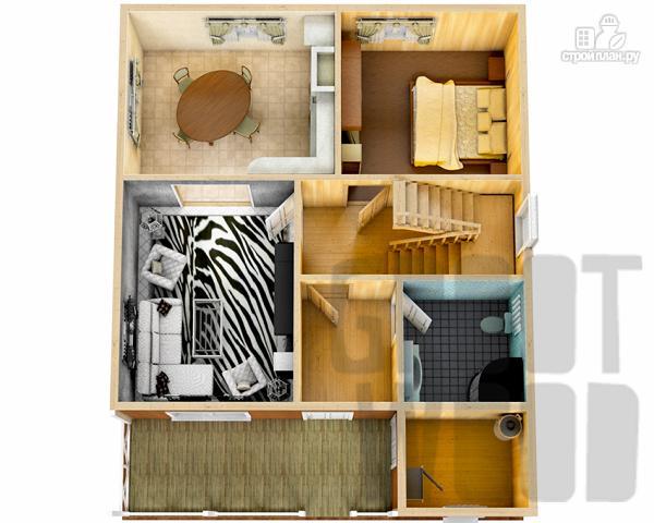 Фото 2: проект дом с мансардным этажом 10 х 8 м
