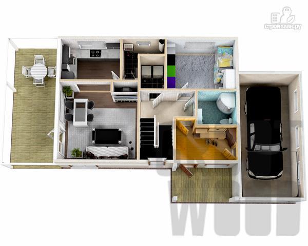 Фото 2: проект двухэтажный дом 10 х 7 м с гаражом