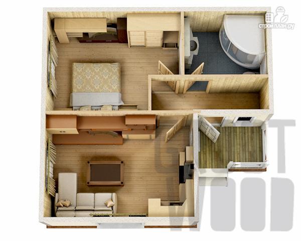 Фото 2: проект одноэтажный дом 7,5 х 7 м