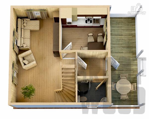 Фото 2: проект дом с мансардным этажом 8 х 6 м