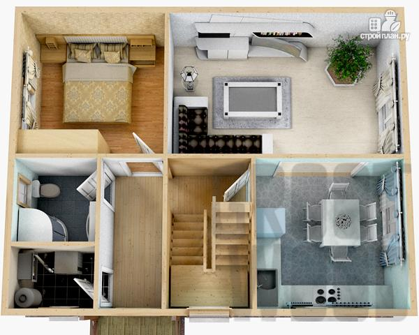 Фото 2: проект полутораэтажный дом 9 х 7 м