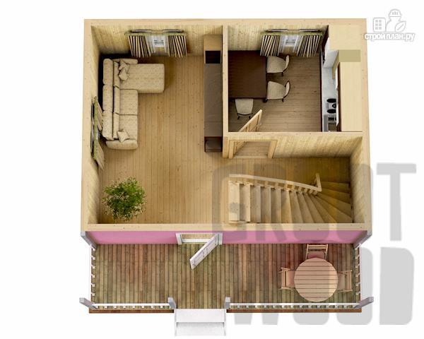 Фото 2: проект дом с мансардным этажом 6 х 6 м