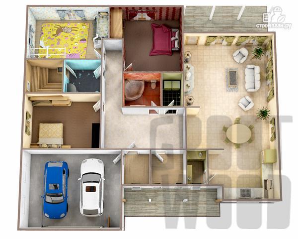 Фото 2: проект одноэтажный дом 18 х 14 м с гаражом