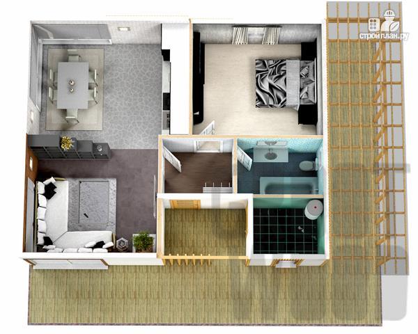 Фото 2: проект одноэтажный современный дом 10 х 8 м