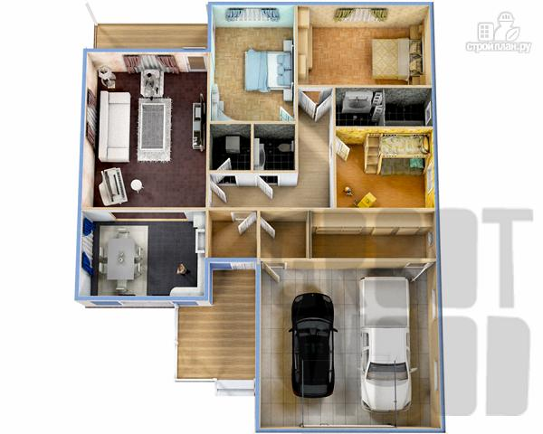 Фото 2: проект одноэтажный дом 17 х 14 м с гаражом
