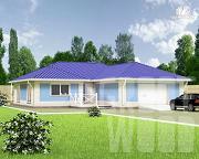 Проект одноэтажный дом 17 х 14 м с гаражом