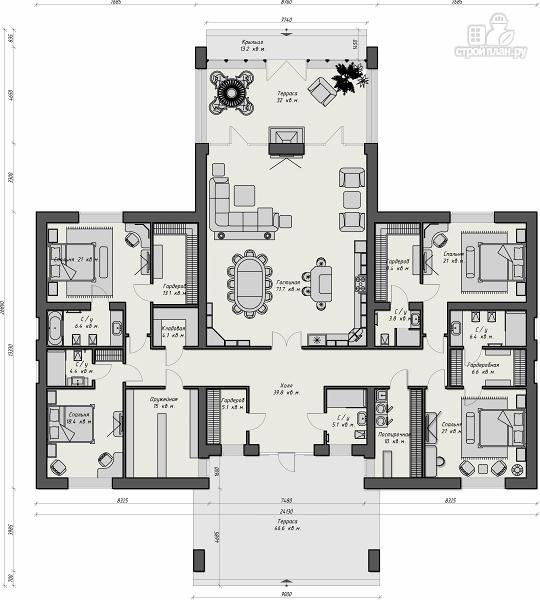Фото 4: проект комфортный одноэтажный особняк в стиле шале