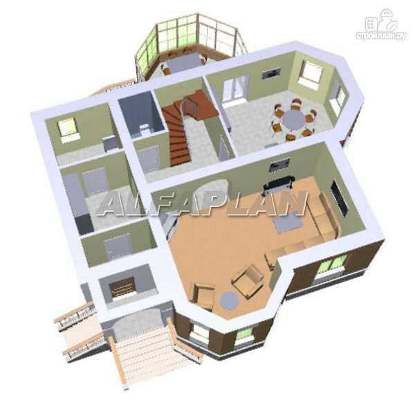 Фото 3: проект «Успех» -двухэтажный дом с верандой и эркером
