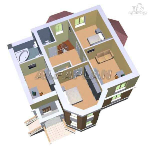 Фото 5: проект «Успех» -двухэтажный дом с верандой и эркером