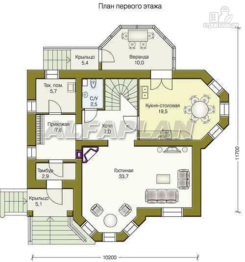 Фото 2: проект «Успех» -двухэтажный дом с верандой и эркером
