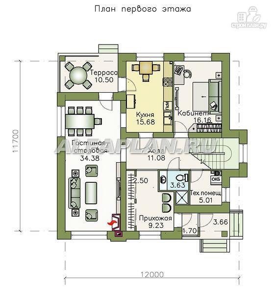 """Фото 2: проект """"Простор"""" - компактный коттедж с высокой просторной гостиной"""