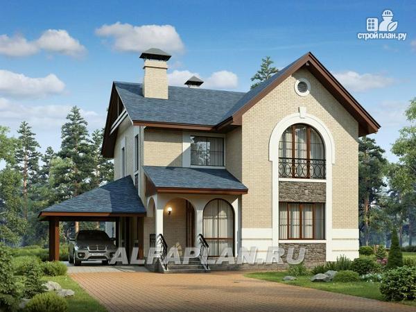 Фото: проект компактный дом с гаражом-навесом