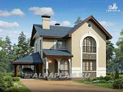 Проект компактный дом с гаражом-навесом