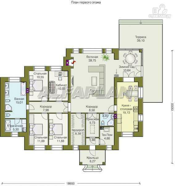 """Фото 2: проект """"Поместье"""" - одноэтажный дом с удобной планировкой"""