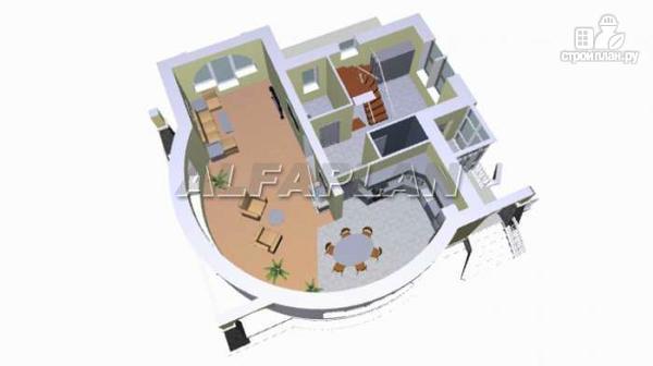 """Фото 3: проект """"Свой остров"""" - коттедж с полукруглой гостиной и мансардными окнами"""