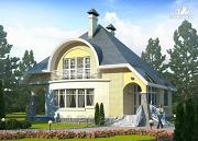 """Фото: """"Свой остров"""" - коттедж с полукруглой гостиной и мансардными окнами"""