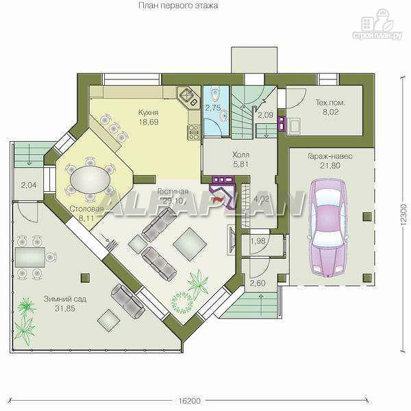 """Фото 2: проект """"Кристалл"""" - загородный дом с оранжереей"""