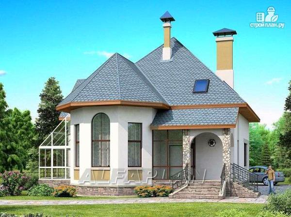 Фото: проект загородный дом с террасой-барбекю и зимним садом