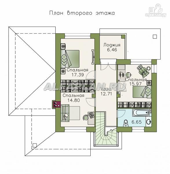 Фото 3: проект современный коттедж с высоким стропильным потолком в гостиной
