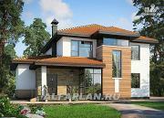 Проект современный коттедж с высоким стропильным потолком в гостиной