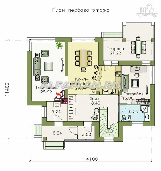 Фото 2: проект современный коттедж с высоким стропильным потолком в гостиной