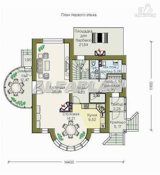"""Фото 2: проект """"Новелла"""" - архитектурная планировка с полукруглым зимним садом"""