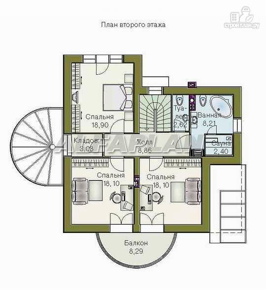 """Фото 4: проект """"Новелла"""" - архитектурная планировка с полукруглым зимним садом"""