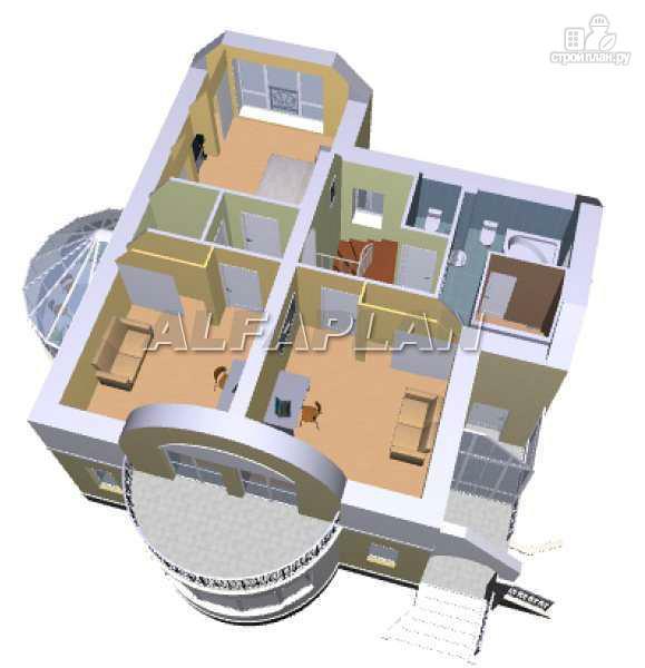 """Фото 5: проект """"Новелла"""" - архитектурная планировка с полукруглым зимним садом"""
