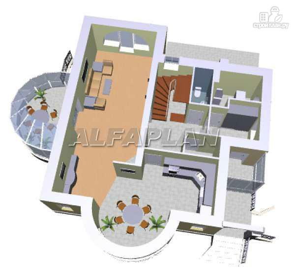 """Фото 3: проект """"Новелла"""" - архитектурная планировка с полукруглым зимним садом"""
