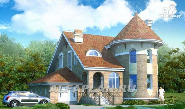 """Фото: проект «Камелот» - загородный дом с угловой """"башней"""""""