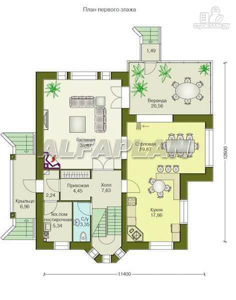 """Фото 2: проект """"Лавиери""""- проект дома с изящным крыльцом и эркером"""