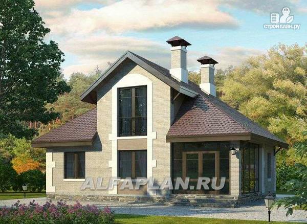 Фото: проект небольшой дом с верандой и студией в мансарде