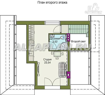 Фото 3: проект небольшой дом с верандой и студией в мансарде