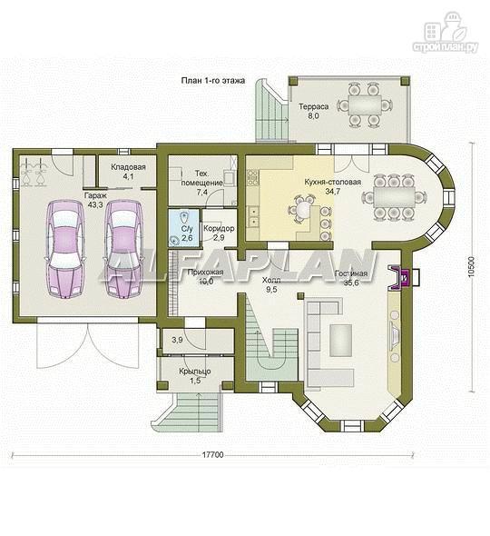 Фото 2: проект «Ювенил» - загородный дом с большим гаражом
