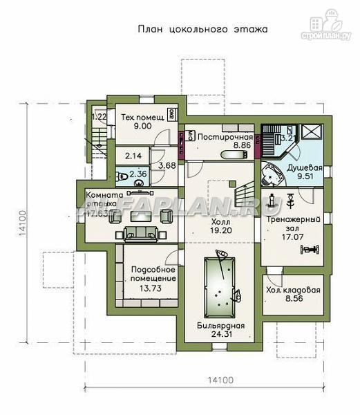 """Фото 2: проект """"Голицин"""" - коттедж с двусветной гостиной и цокольным этажом"""