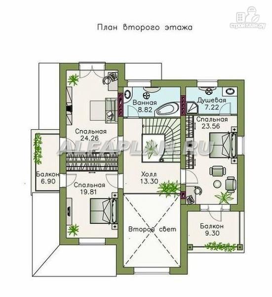 """Фото 4: проект """"Голицин"""" - коттедж с двусветной гостиной и цокольным этажом"""