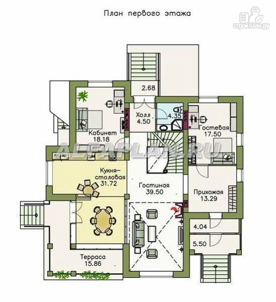 """Фото 3: проект """"Голицин"""" - коттедж с двусветной гостиной и цокольным этажом"""