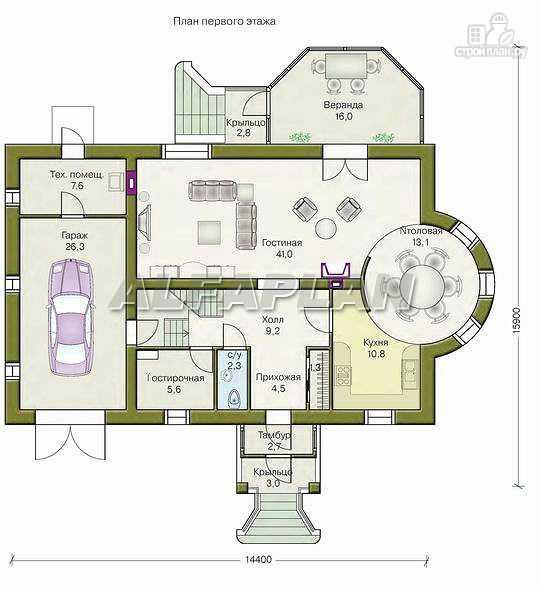 Фото 2: проект «Эвита» - респектабельный дом с гаражом