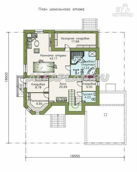 """Фото 2: проект """"Феникс-плюс"""" - коттедж с большим гаражом и цокольным этажом"""