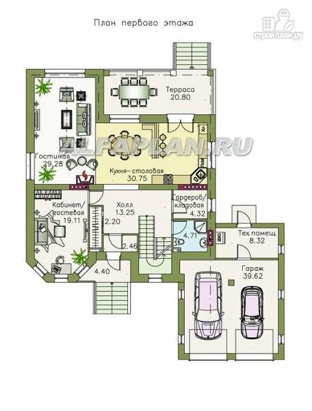 """Фото 3: проект """"Феникс-плюс"""" - коттедж с большим гаражом и цокольным этажом"""