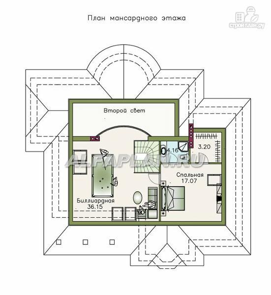 """Фото 3: проект """"Светлая жизнь"""" - одноэтажный дом с бильядной в мансарде"""