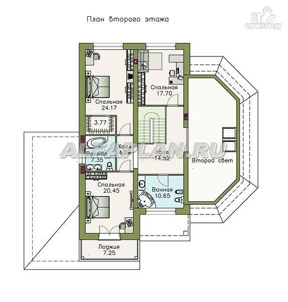 """Фото 4: проект """"Рубин"""" - современный коттедж c оригинальной гостиной"""